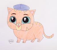 Фото кота Фаззи из My Littlest Pet Shop карандашом