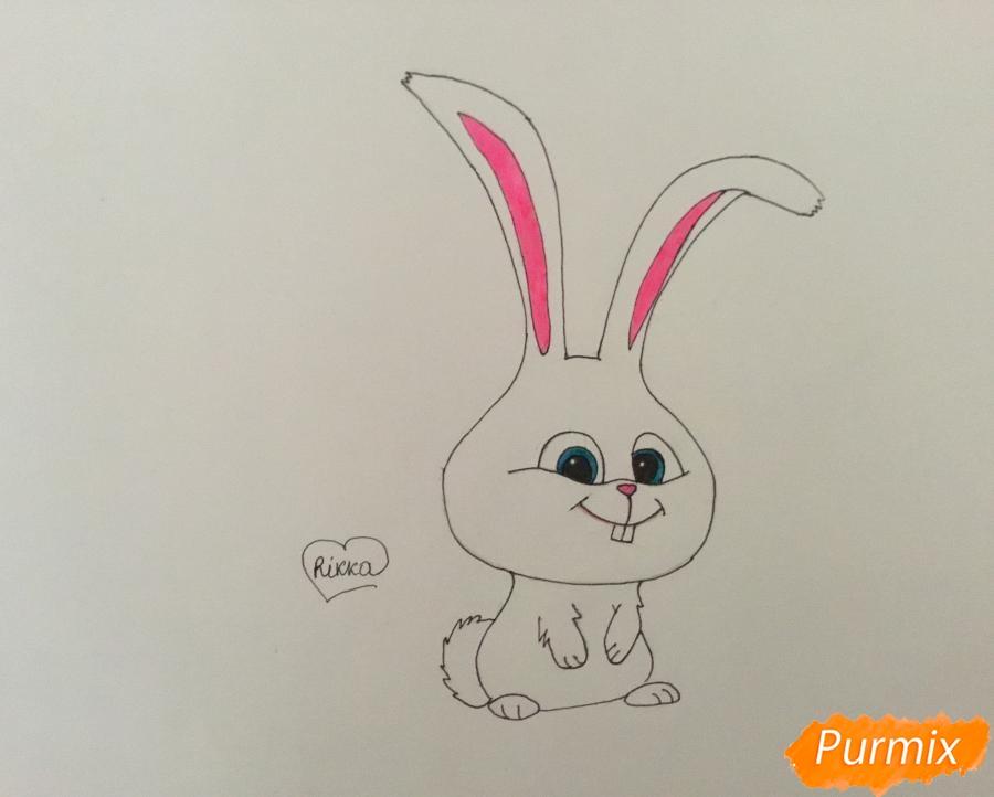 Рисуем кролика Снежка из мультфильма Тайная жизнь домашних животных - шаг 7