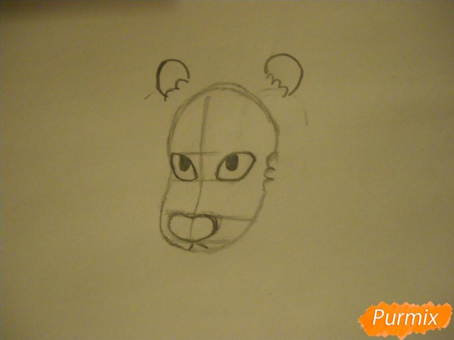 Рисуем льва Стивена из Вселенная Стивена карандашами - шаг 2