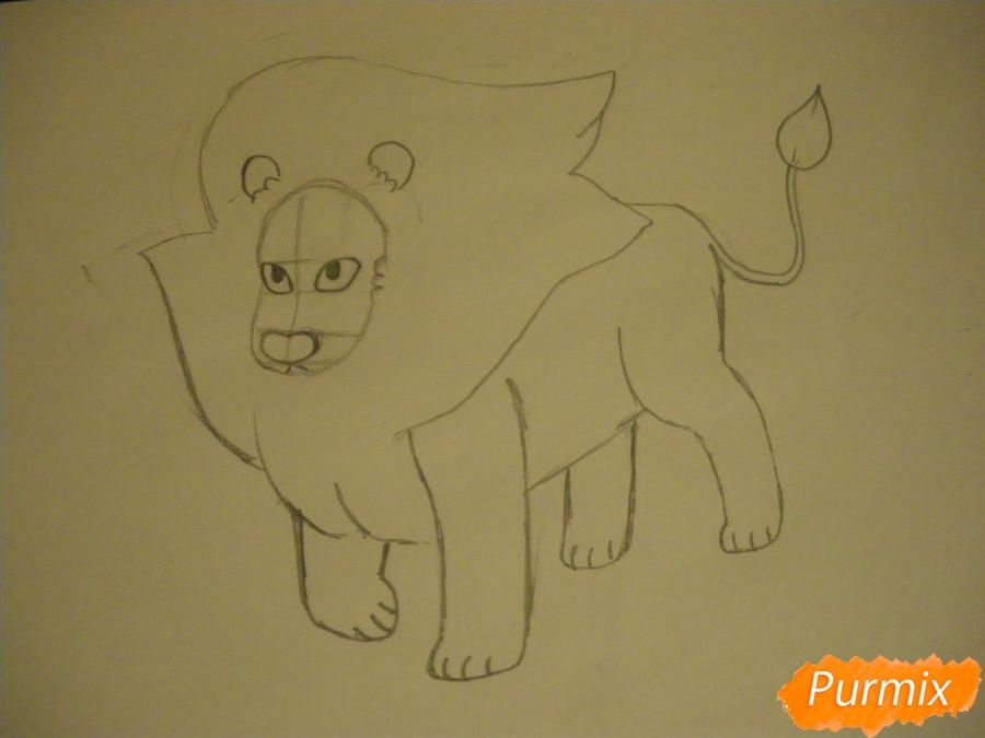 Рисуем льва Стивена из Вселенная Стивена карандашами - шаг 5