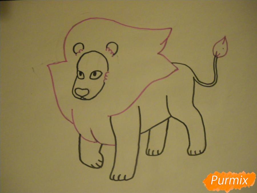Рисуем льва Стивена из Вселенная Стивена карандашами - шаг 6