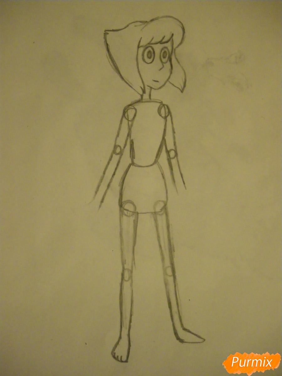 Рисуем Ляпис Лазурит из Вселенная Стивена карандашами - шаг 3