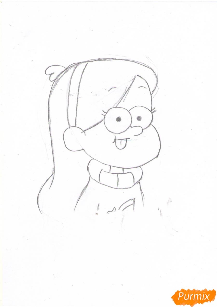 Рисуем Мэйбл Пайнс из Гравити Фолз карандашами - шаг 4
