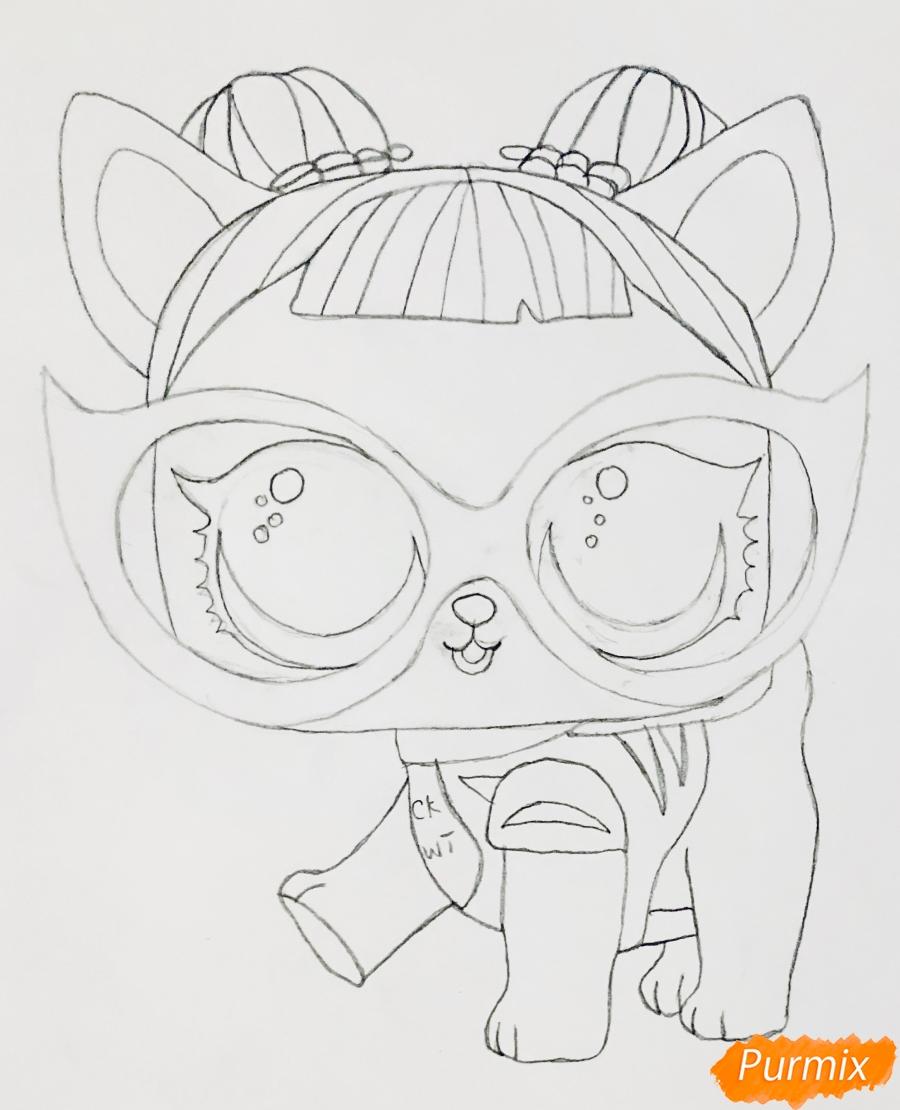 Рисуем модную собачку чихуахуа из мультфильма Lol pets - шаг 5
