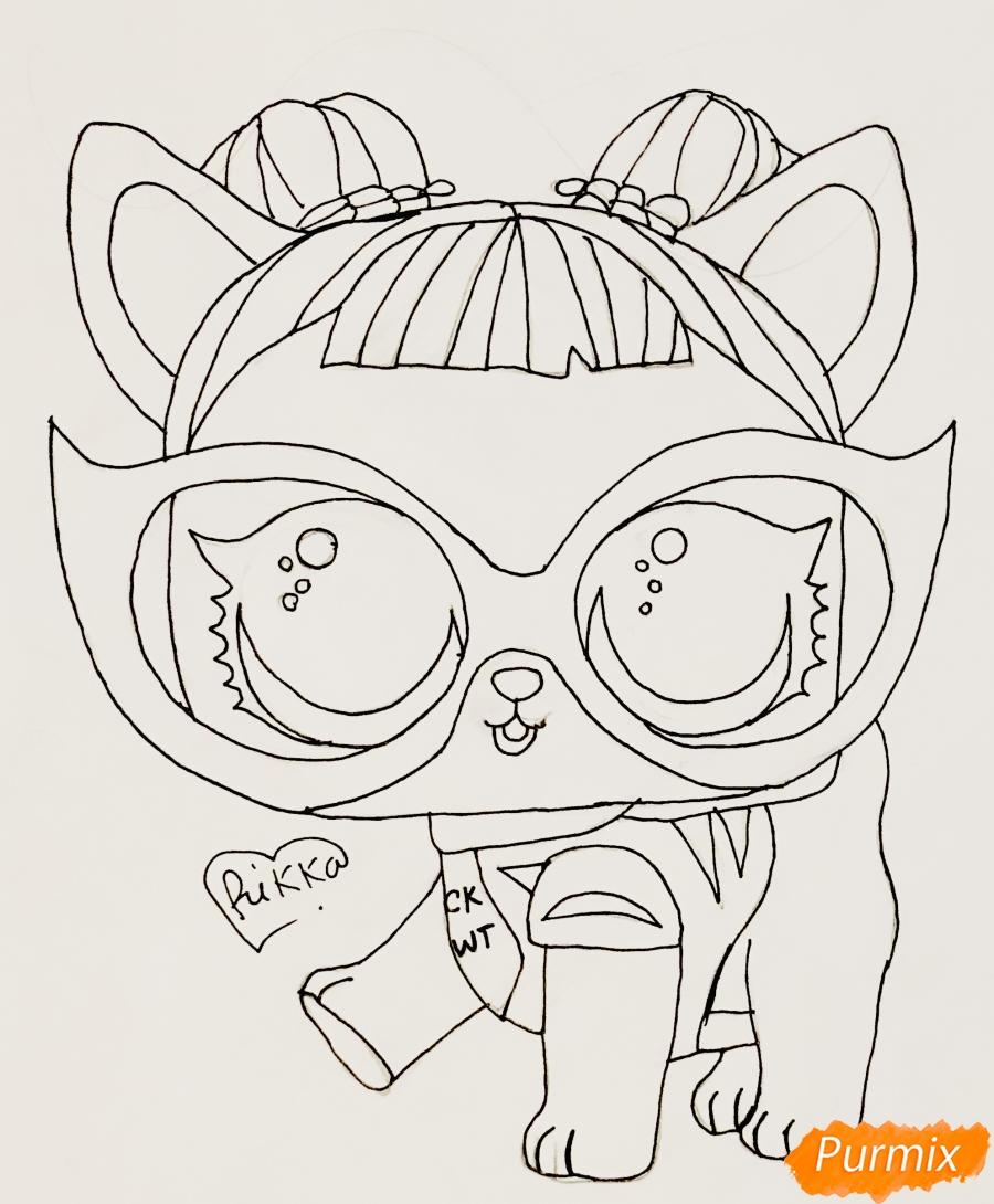 Рисуем модную собачку чихуахуа из мультфильма Lol pets - шаг 6