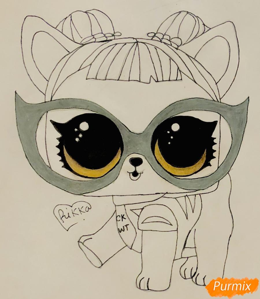 Рисуем модную собачку чихуахуа из мультфильма Lol pets - шаг 7