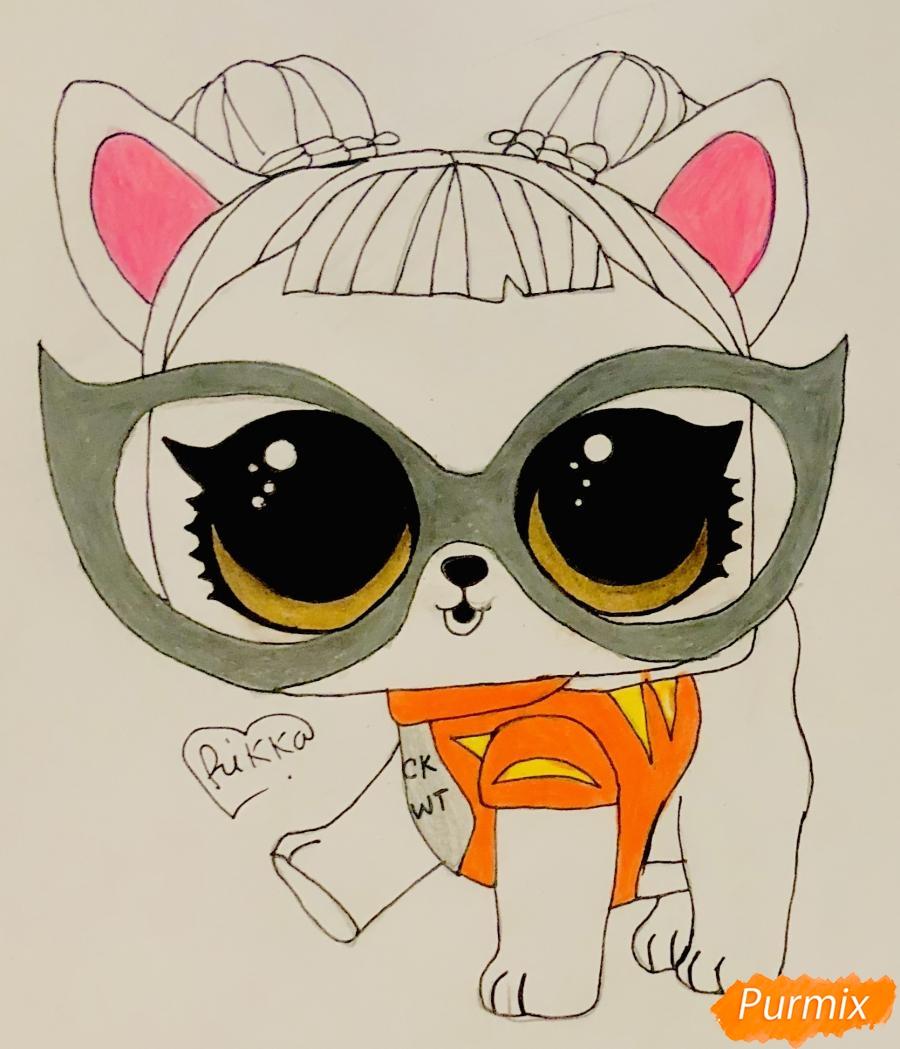 Рисуем модную собачку чихуахуа из мультфильма Lol pets - шаг 8