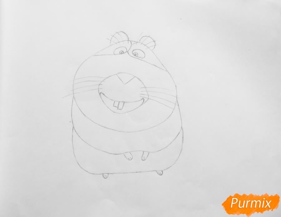 Рисуем морскую свинку Нормана из мультфильма Тайная жизнь домашних животных - шаг 4