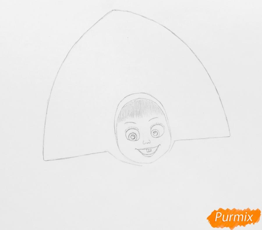 Рисуем новогоднюю Машу в образе снегурочки - шаг 3