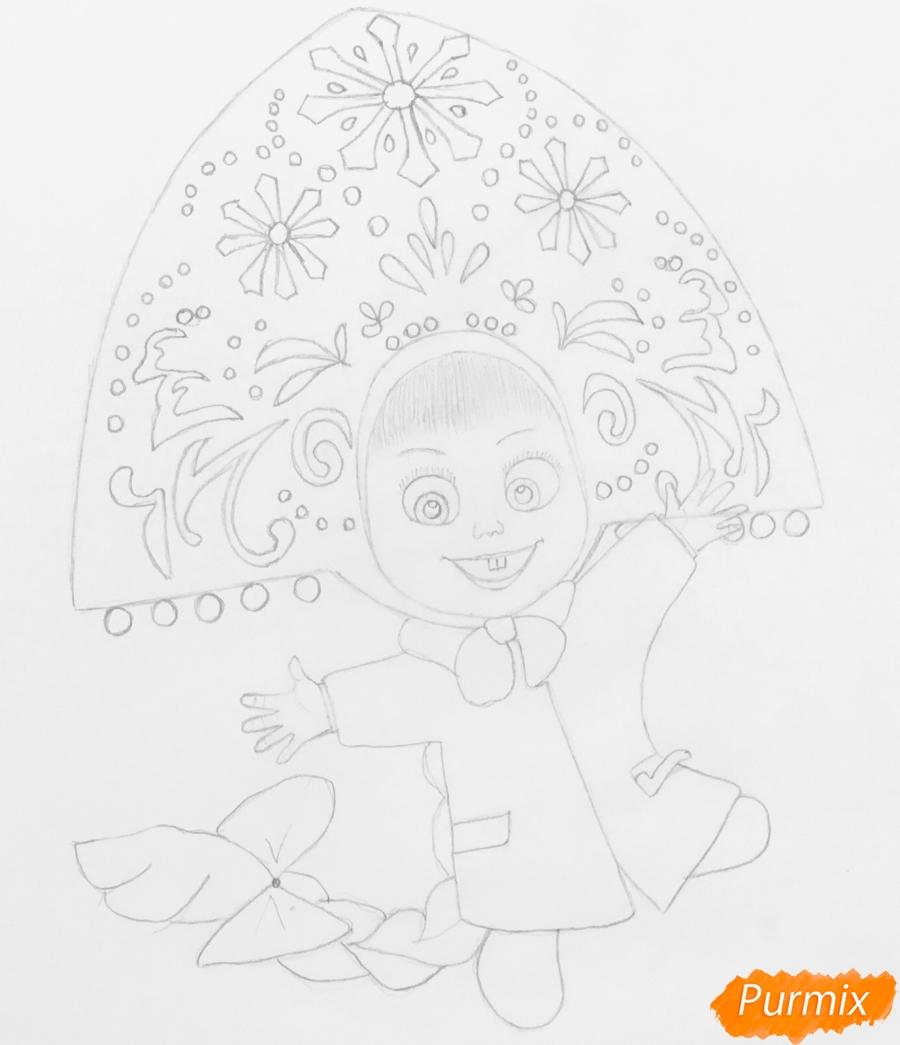 Рисуем новогоднюю Машу в образе снегурочки - шаг 6