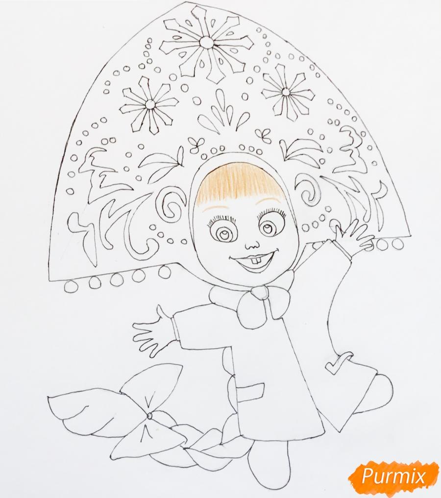 Рисуем новогоднюю Машу в образе снегурочки - шаг 7