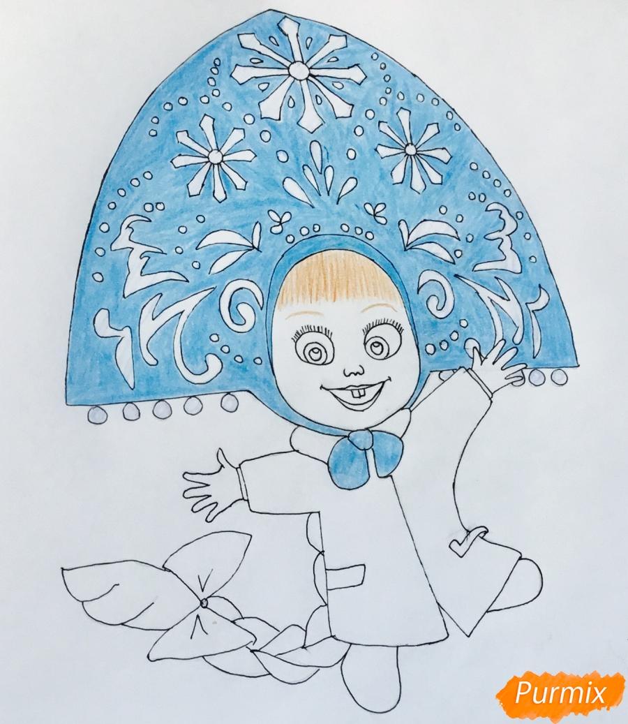 Рисуем новогоднюю Машу в образе снегурочки - шаг 8