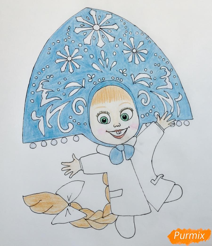 Рисуем новогоднюю Машу в образе снегурочки - шаг 9