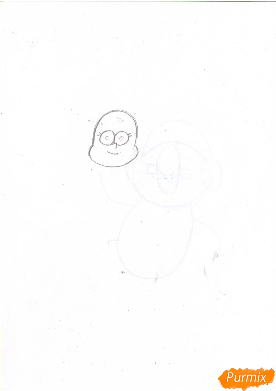 Рисуем Пасифику Нортвест из Гравити Фолз карандашами - шаг 1