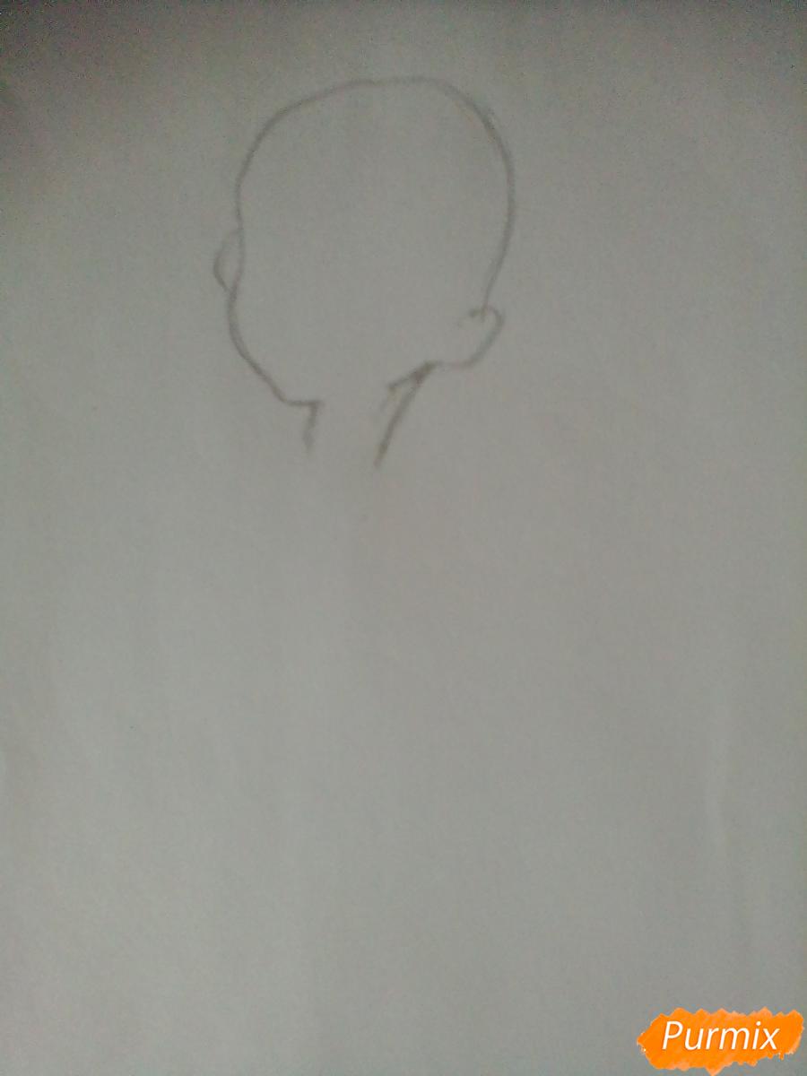 Рисуем Пинки Пай в виде человека карандашами - шаг 1