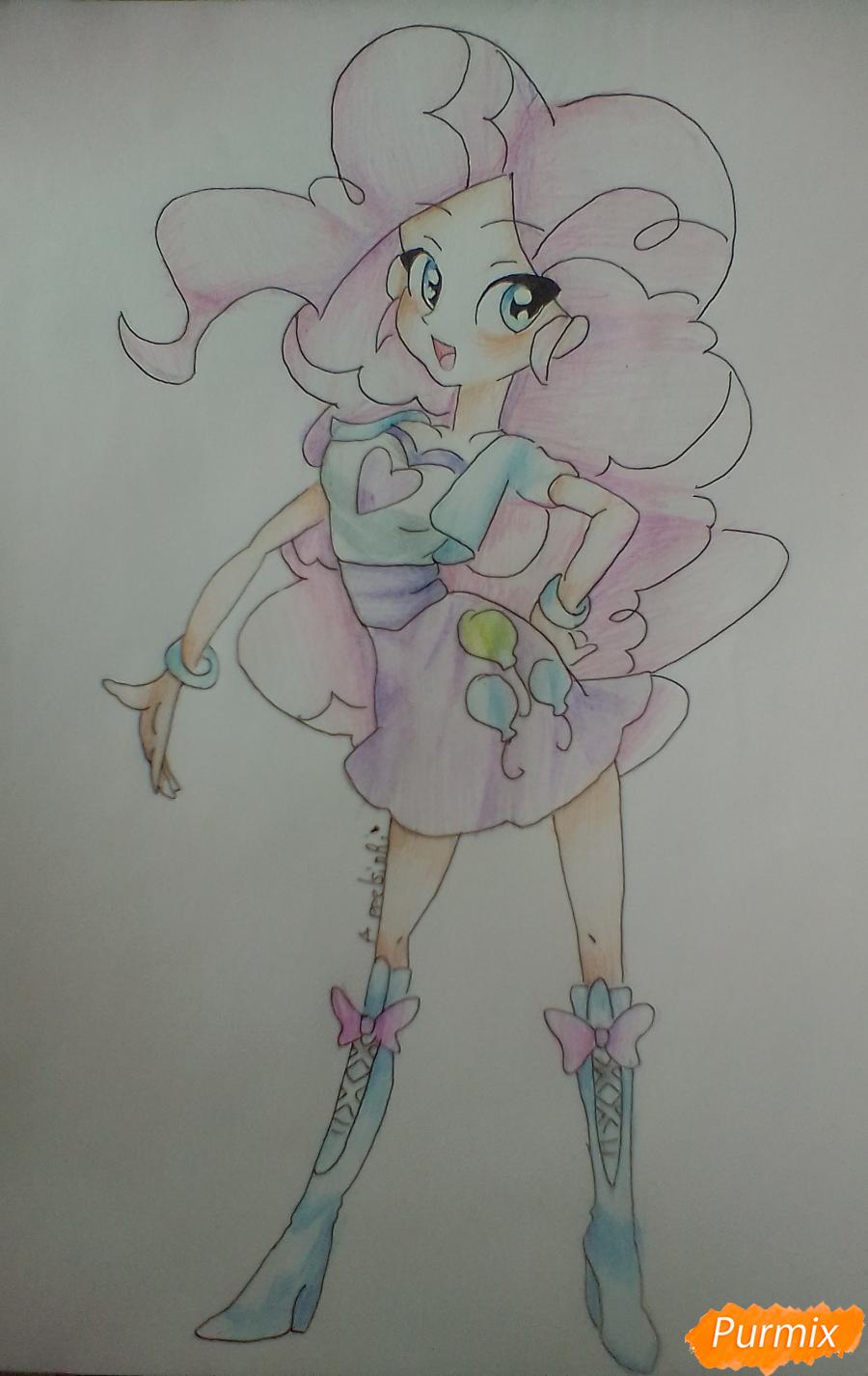 Рисуем Пинки Пай в виде человека карандашами - шаг 12