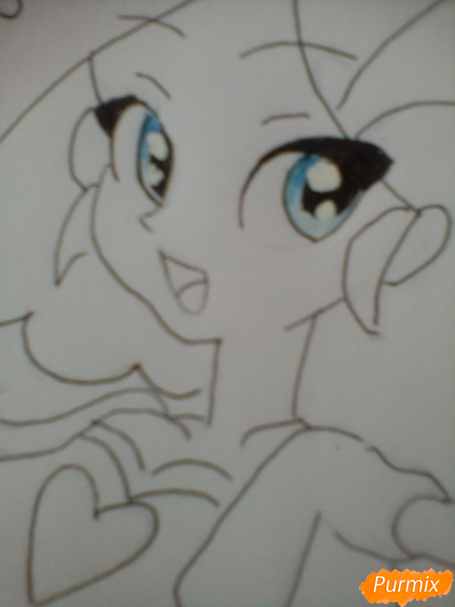 Рисуем Пинки Пай в виде человека карандашами - шаг 9