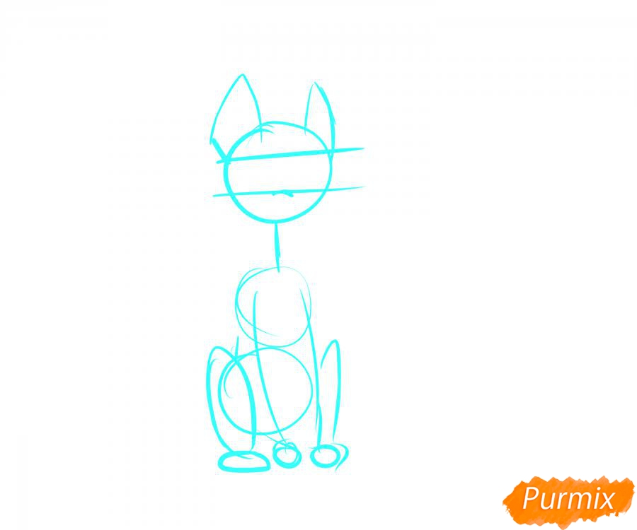 Рисуем пони с мороженым на голове - шаг 1
