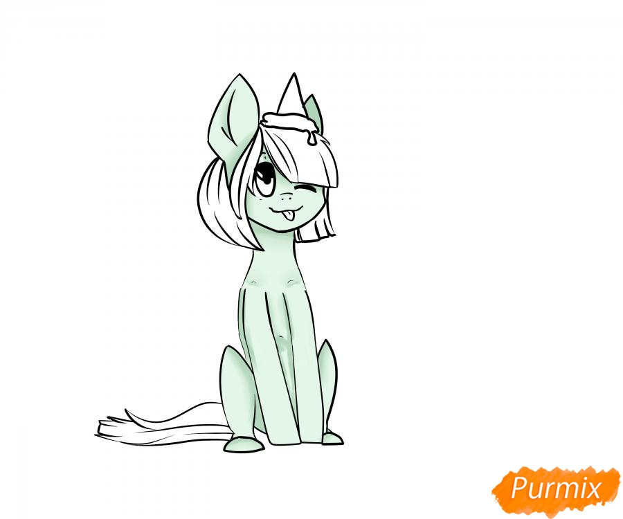 Рисуем пони с мороженым на голове - шаг 5