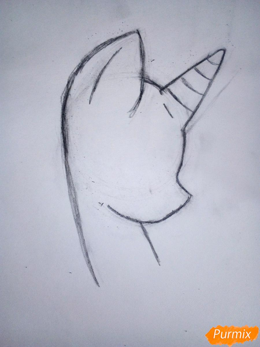 Рисуем пони Винил с наушниками - шаг 1