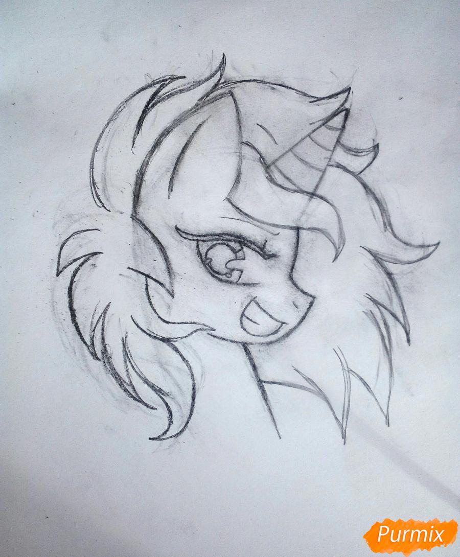 Рисуем пони Винил с наушниками - шаг 3