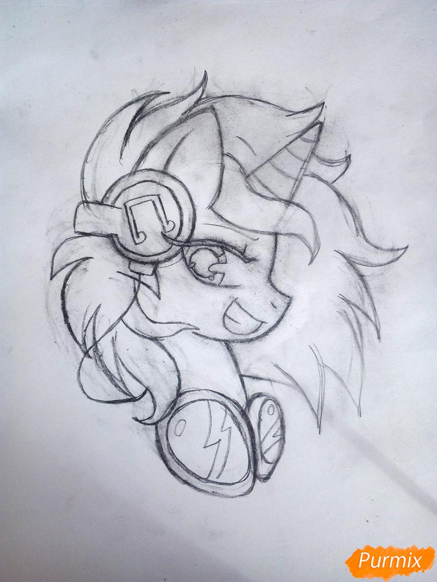 Рисуем пони Винил с наушниками - шаг 4