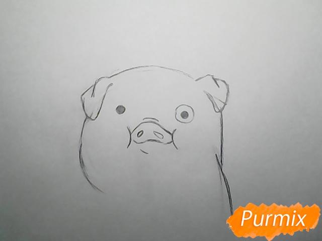 Рисуем поросёнка Пухлю из Гравити фолз карандашами - шаг 4
