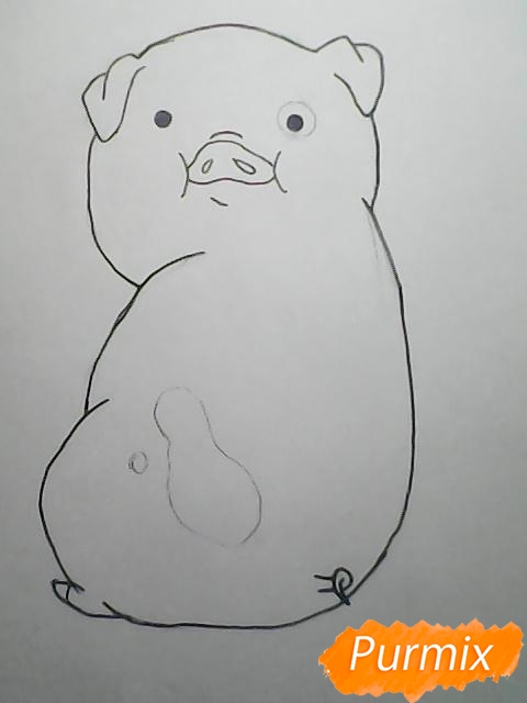 Рисуем поросёнка Пухлю из Гравити фолз карандашами - шаг 7