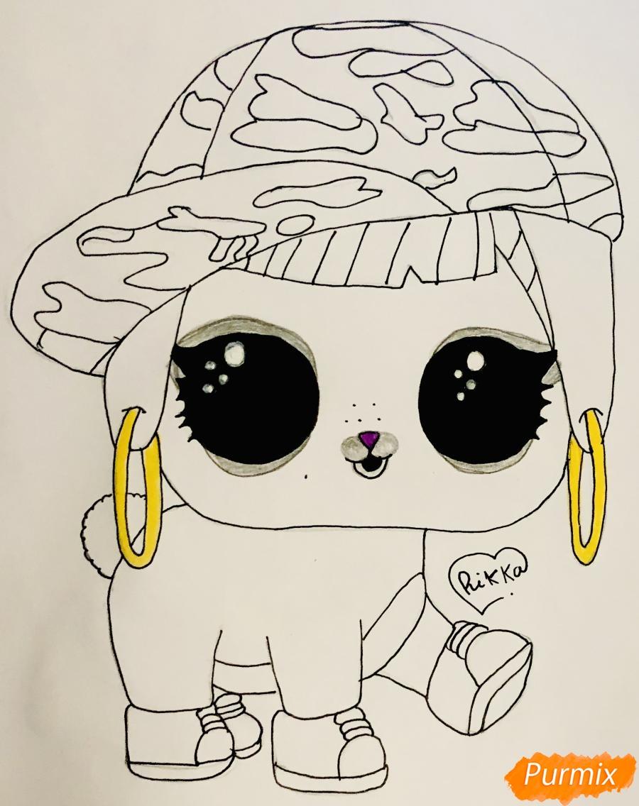 Рисуем серого крольчонка в розовой кепке из мультфильма Lol Pets - шаг 6