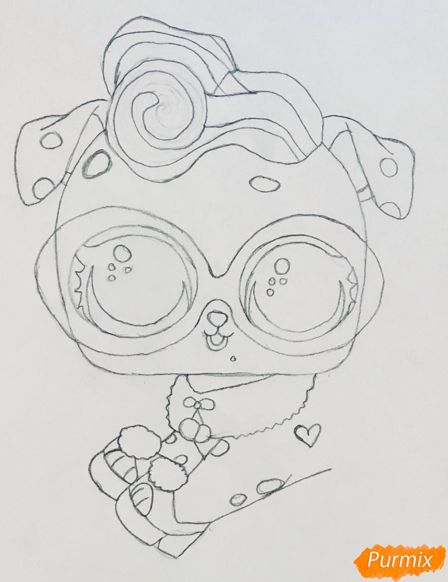 Рисуем модного щеночка далматинца из мультфильма Lol Pets - шаг 4