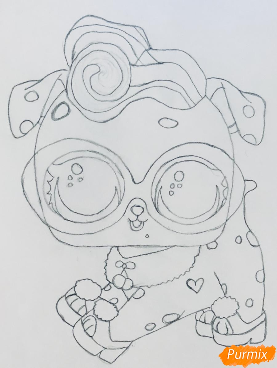 Рисуем модного щеночка далматинца из мультфильма Lol Pets - шаг 5