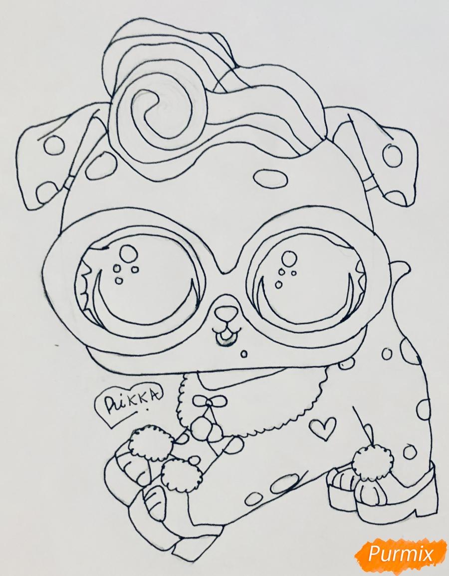 Рисуем модного щеночка далматинца из мультфильма Lol Pets - шаг 6