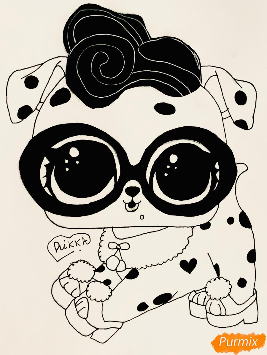 Рисуем модного щеночка далматинца из мультфильма Lol Pets - шаг 7