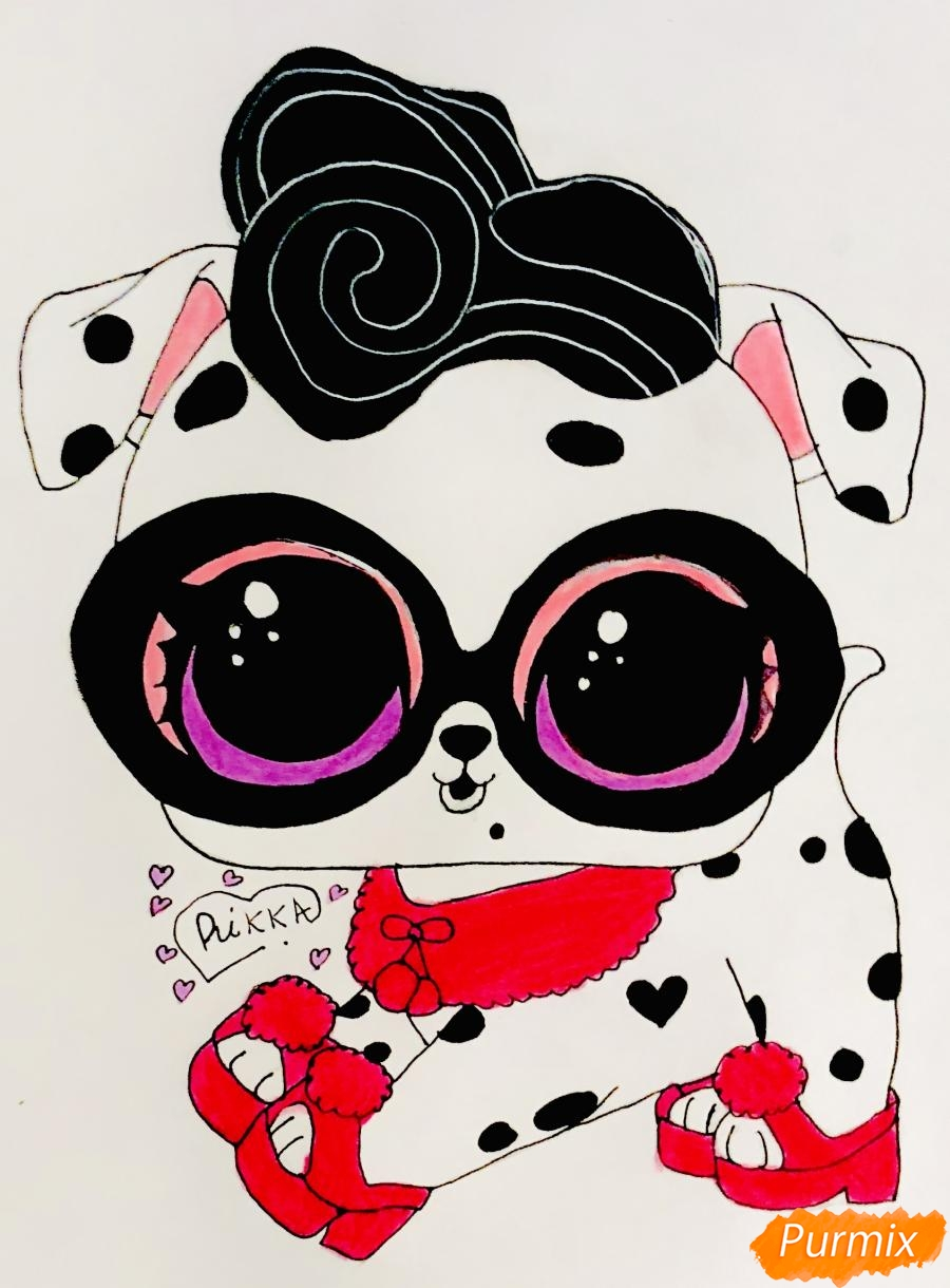 Рисуем модного щеночка далматинца из мультфильма Lol Pets - шаг 9