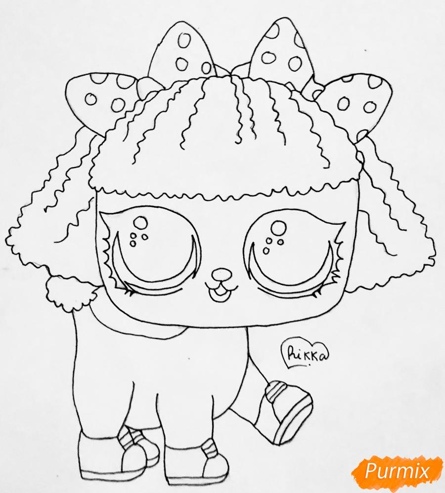 Рисуем милого щеночка породы пудель из мультфильма Lol pets - шаг 6
