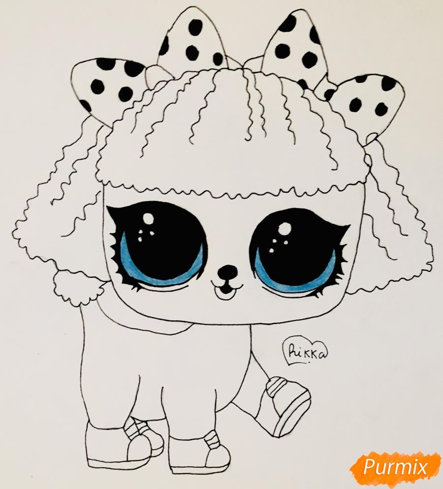 Рисуем милого щеночка породы пудель из мультфильма Lol pets - шаг 7