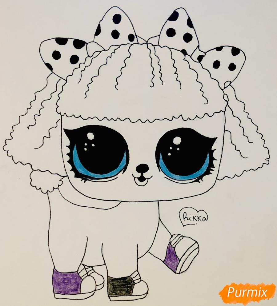 Рисуем милого щеночка породы пудель из мультфильма Lol pets - шаг 8