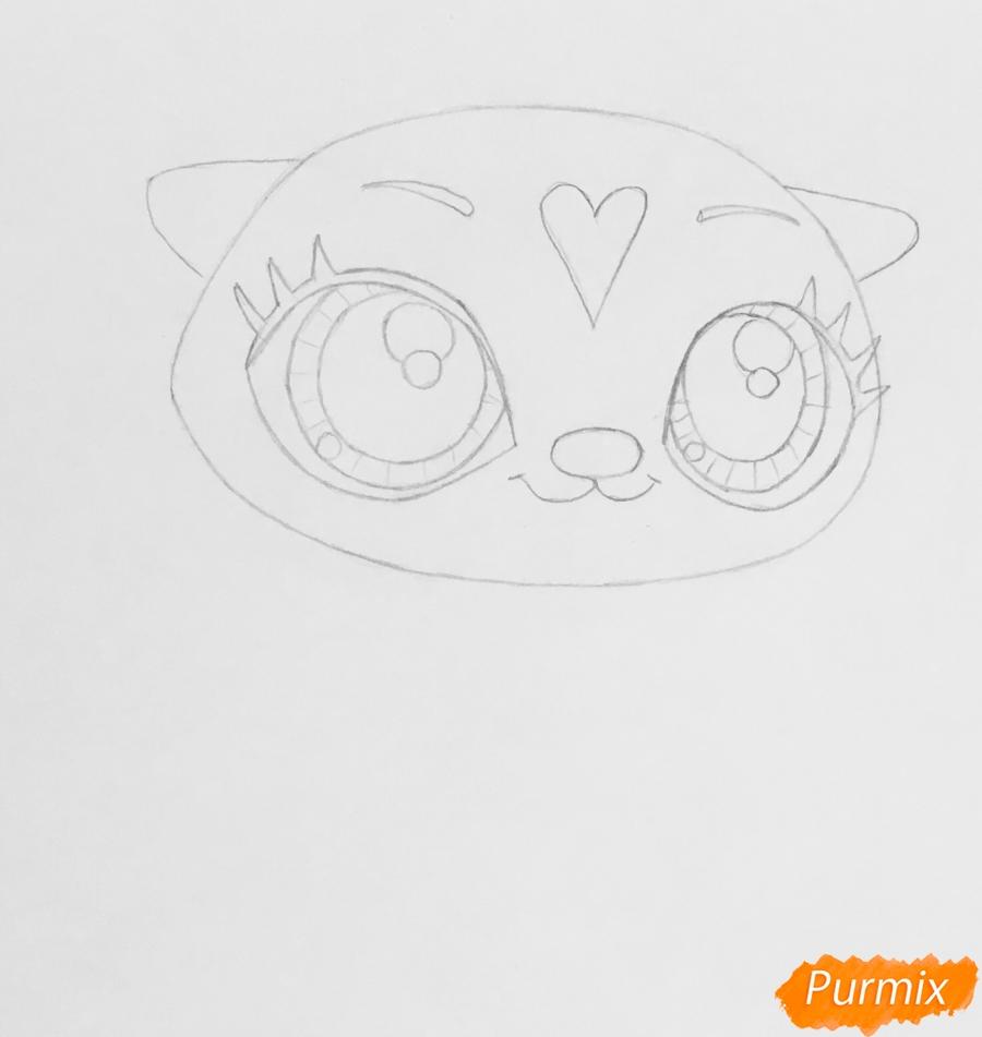 Рисуем синюю выдру из мультфильма My Littlest Pet Shop - шаг 3