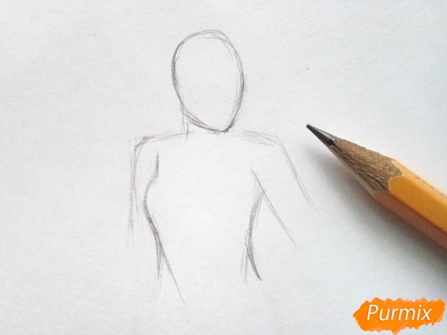 Рисуем Снежную королеву из сказки карандашами - шаг 1