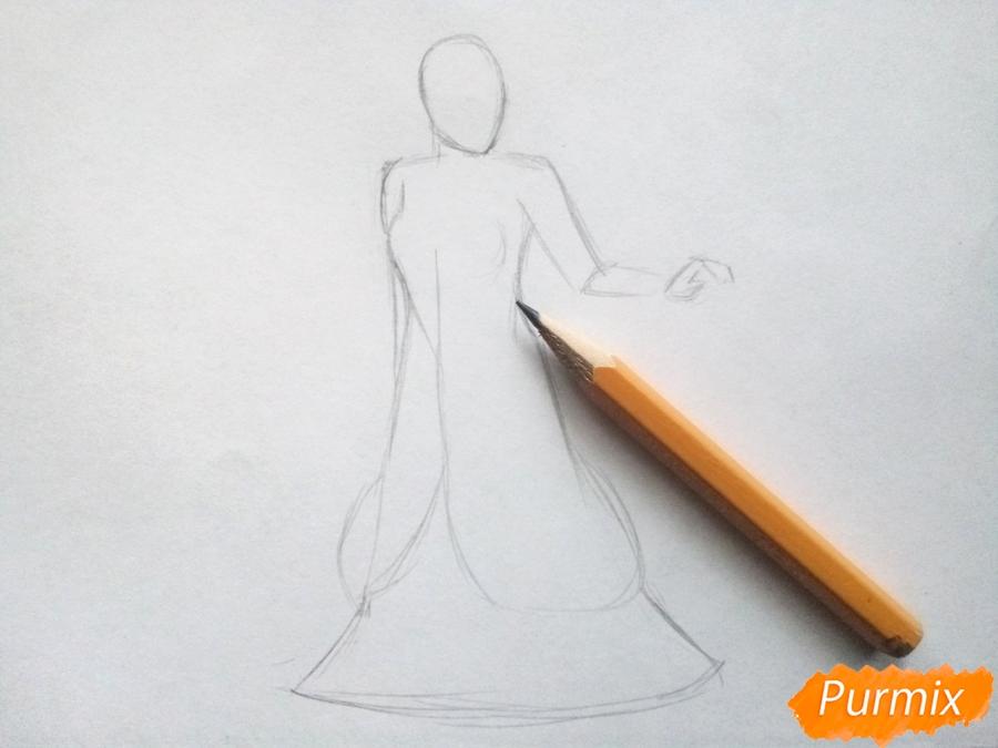Рисуем Снежную королеву из сказки карандашами - шаг 2