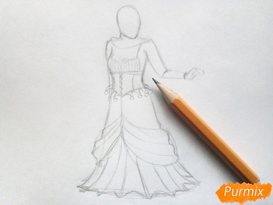 Рисуем Снежную королеву из сказки карандашами - шаг 3