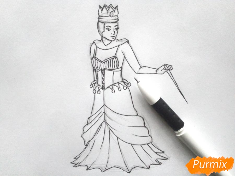 Рисуем Снежную королеву из сказки карандашами - шаг 5