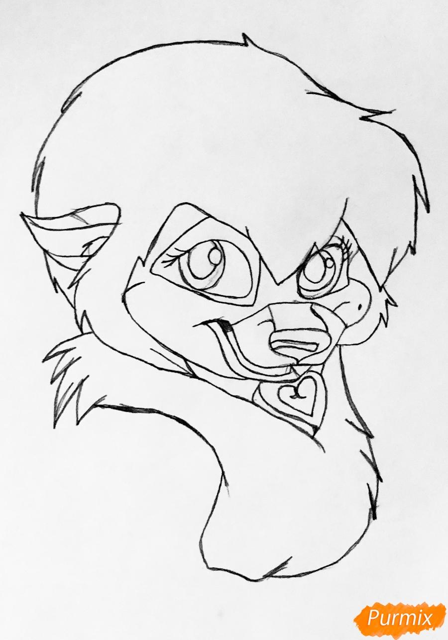 Рисуем собачку Дикси из мультфильма Балто цветными карандашами - шаг 3