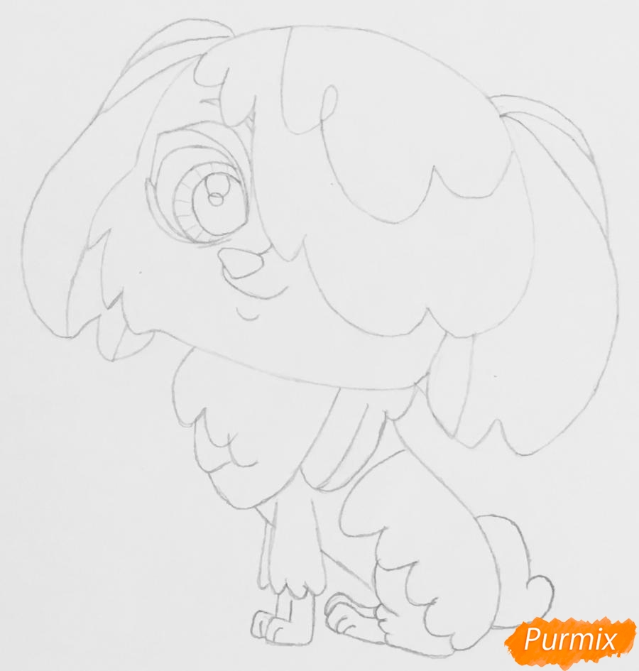 Рисуем собачку породы Бобтейл из мультфильма My Littlest Pet Shop - шаг 4