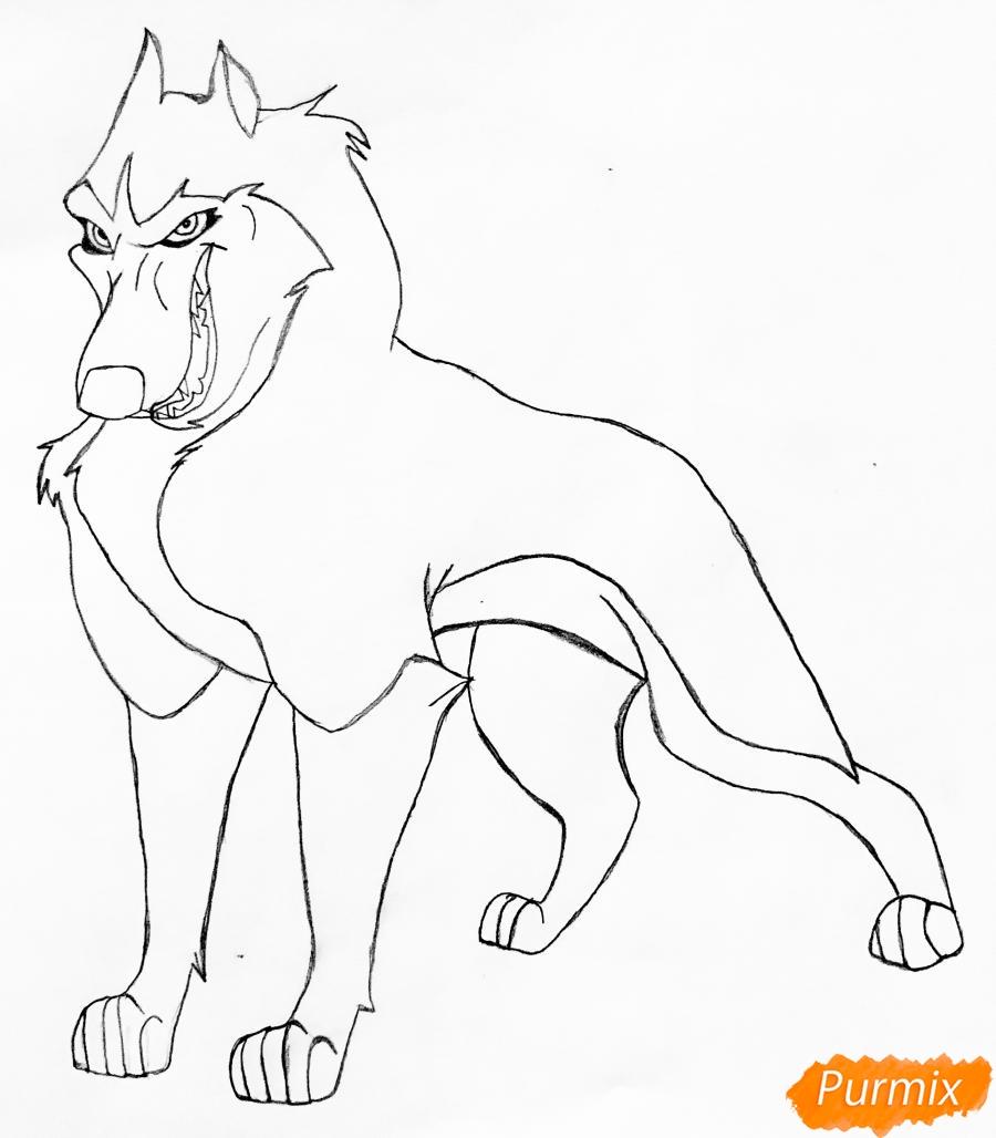 Рисуем хаски Стила из мультфильма Балто - шаг 3