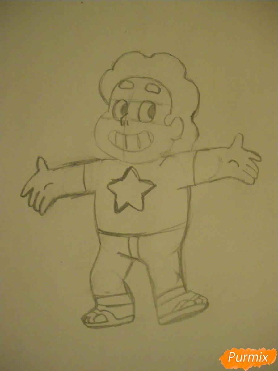 Рисуем Стивена Юниверса из Вселенная Стивена карандашами - шаг 5