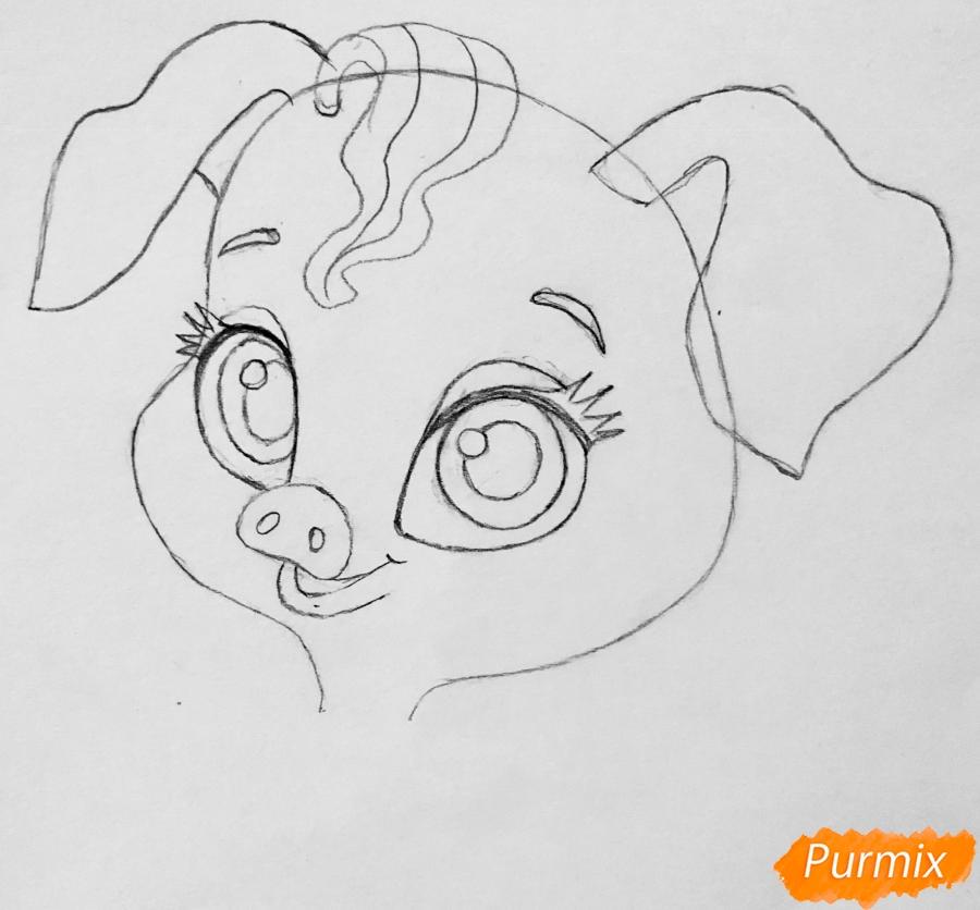 Рисуем свинью по имени Truffles питомца Рапунцель из мультфильма palace pets - шаг 3