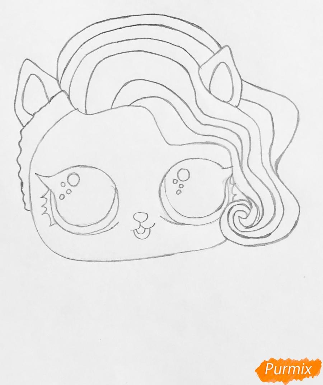 Рисуем волчёнка из мультфильма Lol Pets - шаг 3