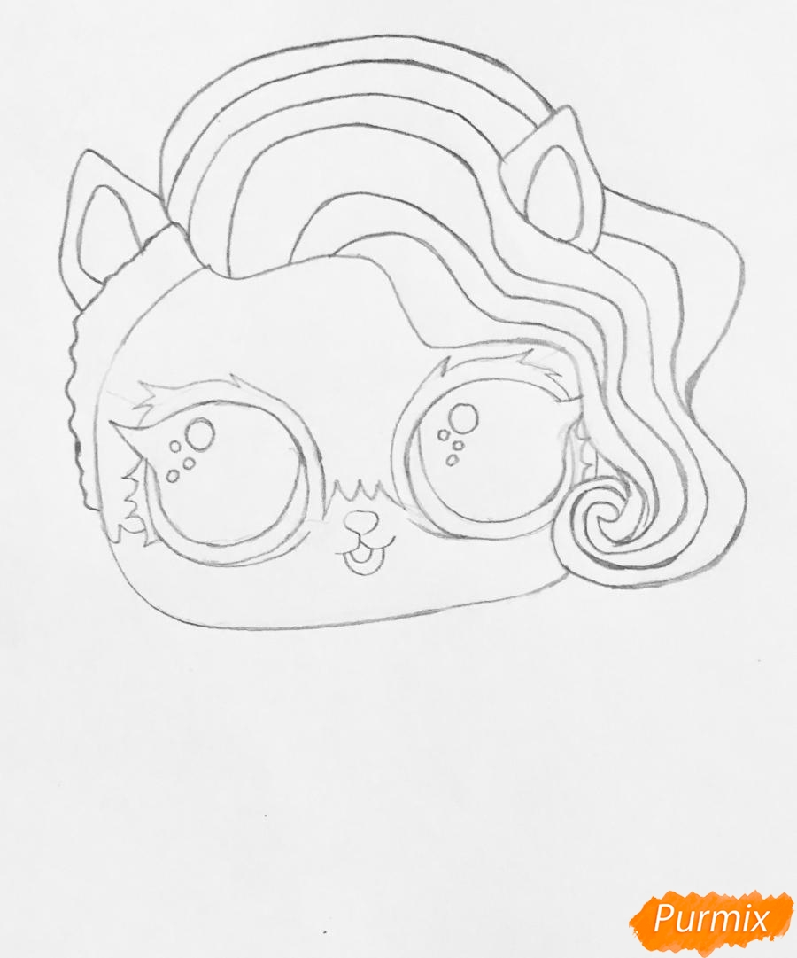 Рисуем волчёнка из мультфильма Lol Pets - шаг 4