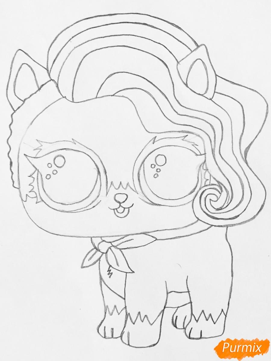 Рисуем волчёнка из мультфильма Lol Pets - шаг 5